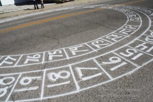Dana, Indiana mystery circle right on the street downtown! Can you guess what it is?