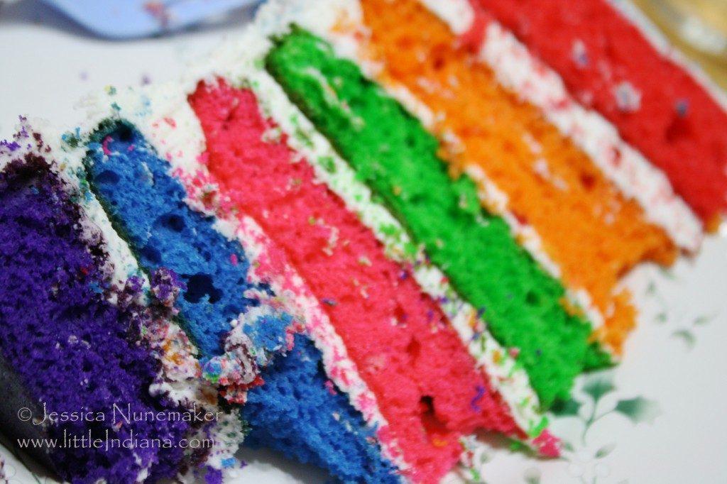 Slice of Rainbow Cake
