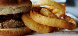 Cedar Lake, Indiana: Pier 74 Restaurant and Bar Pork Sandwich and Onion Rings