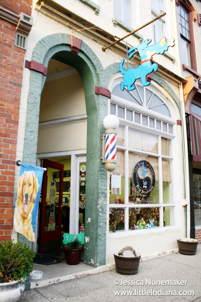 Exterior of Blue Cerebus Dog Boutique in Madison, Indiana