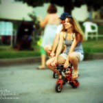 Neighborhood Circus and Block Party: little Indiana and Hubby Jeremy Nunemaker Test the Mini Bikes