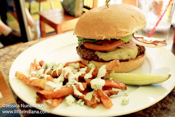 Octave Grill in Chesterton, Indiana Chanute Burger with Buffalo French Fries