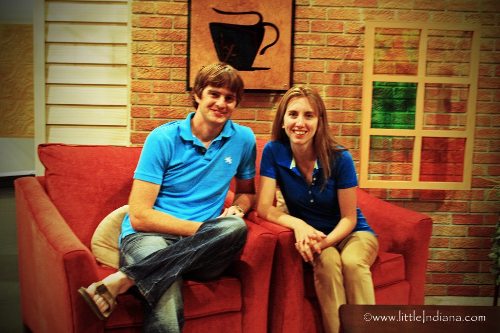 little Indiana and Husband, Jeremy Nunemaker, on the PBS Set