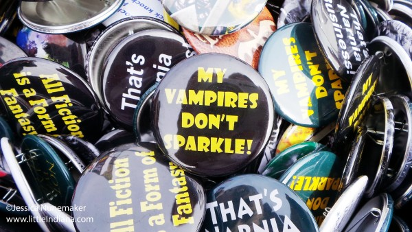 Fun buttons at That Book Place Author Fair in Madison, Indiana