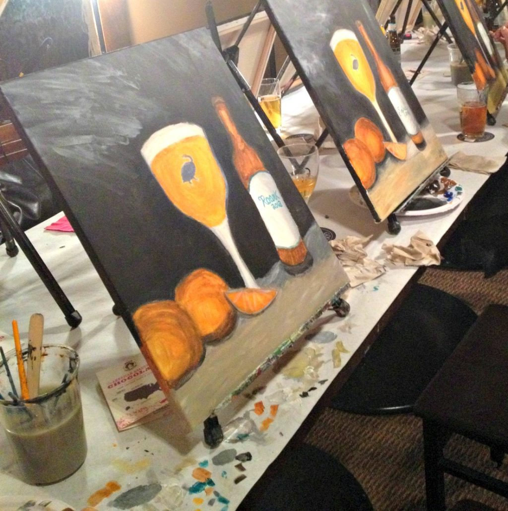 Goose island migration week with wine and canvas in for Wine and paint indianapolis