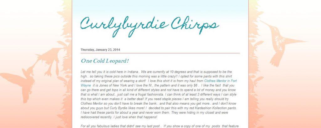 Indiana Blogs: Curly Byrdie Chirps