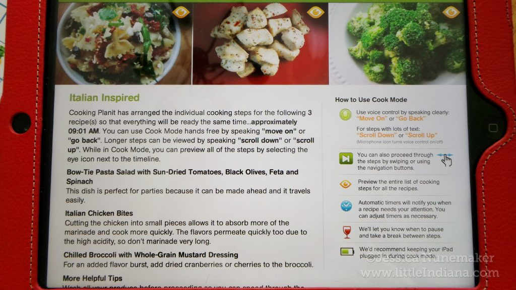 Cooking PlanIt App for iPad