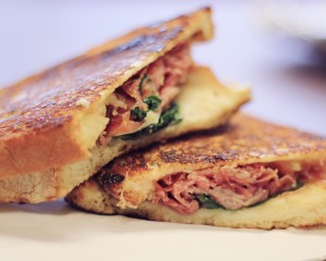 The Pig & Fig Panini is savory and deliciously chewy.