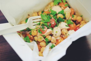 The Sicilian Chickpea Salad includes chickpeas, red onion, cherry tomatoes, basil, parsley and fresh mozzarella tossed in a lemon & red wine vinegar dressing.