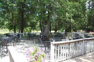 Outdoor dining at Tate's Place in Portage.