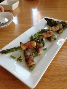 Bacon-wrapped asparagus appetizer.