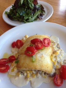 Alaskan halibut with creamed corn and oysters.