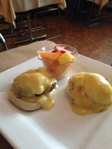 Surf and turf eggs Benedict at Tommy B