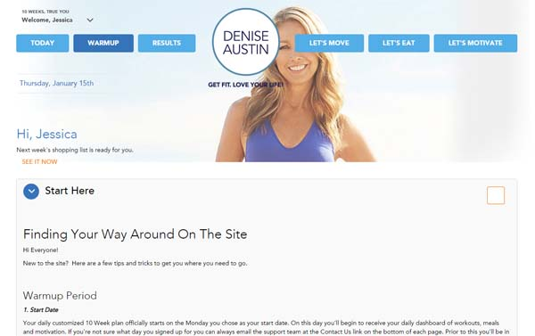 Denise Austin Ten Week 360 Plan Warmup Week
