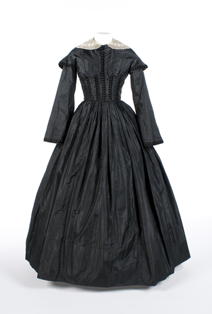 A Victorian mourning dress is just one of the more than 100 artifacts featured in the exhibition.