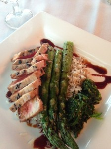 The seared tuna over seaweed salad, with rice and asparagus was perfect.