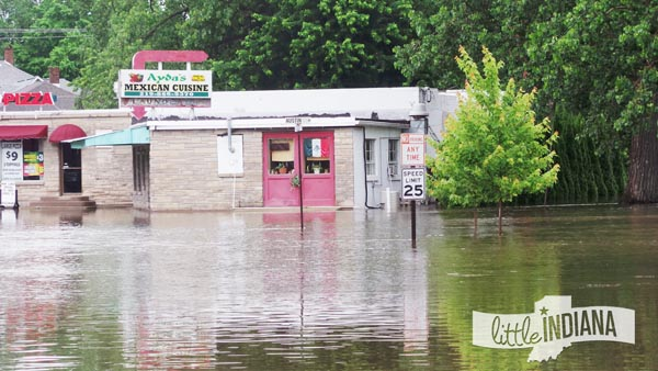 Ayda's Mexican Restaurant in Rensselaer, Indiana Finds Floodwaters at Front Door