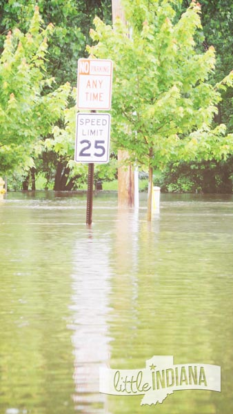 A Street Sign is Surrounded by Water