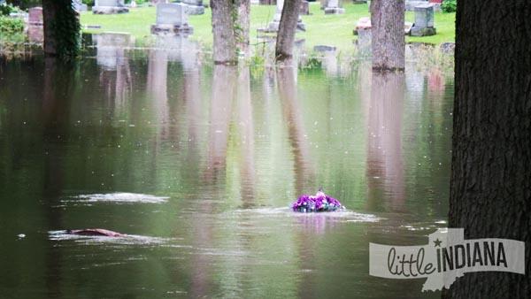 Underwater Headstones at Weston Cemetery