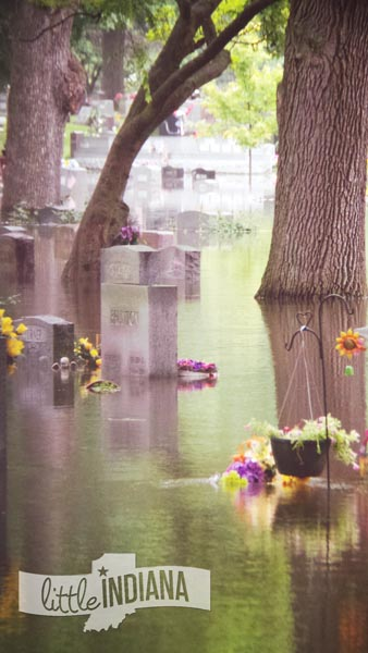 Weston Cemetery in Rensselaer, Indiana Enfolded in Floodwaters