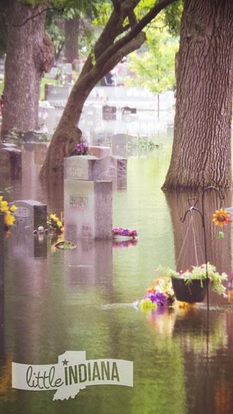 Weston Cemetery in Rensselaer, Indiana Enfolded in Floodwaters