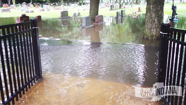 Weston Cemetery in Rensselaer, Indiana Closed Due to Flooding