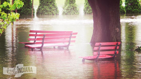 Potawatomi Park in Rensselaer, Indiana is Completely Flooded