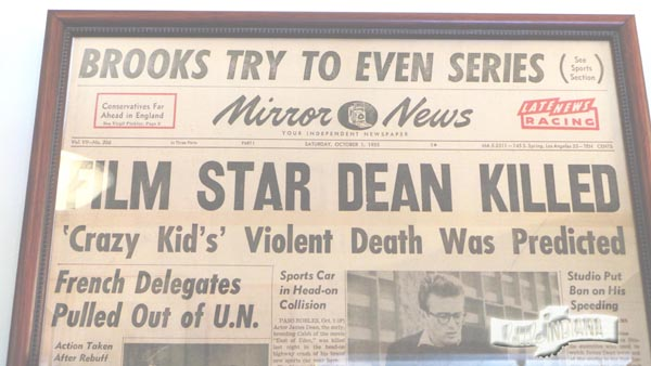 Film Star Dean Killed Los Angeles Newspaper Headline