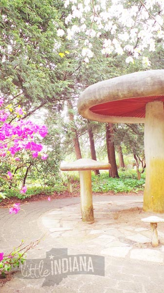 Giant Mushroom at Krider World's Fair Gardens in Middlebury, Indiana