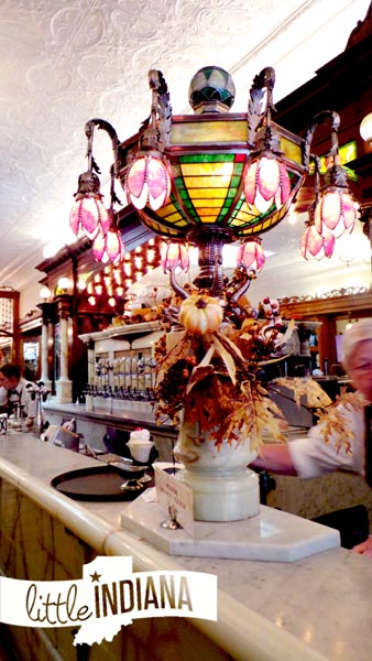 Zaharakos Ice Cream Parlor Museum in Columbus, Indiana 1905 Tiffany Style Lamp and Soda Water Dispenser