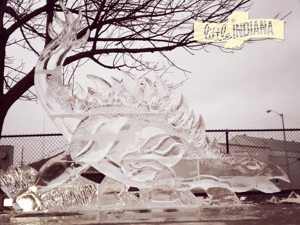 Richmond, Indiana downtown gleams with amazing ice sculptures, like this huge stegosaurus.