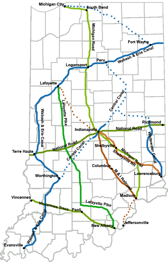 Indiana Railroad and Canal Projects